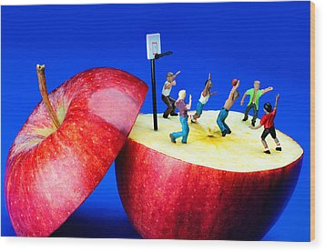 Basketball Games On The Apple Little People On Food Wood Print by Paul Ge