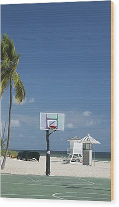 Basketball Goal On The Beach Wood Print
