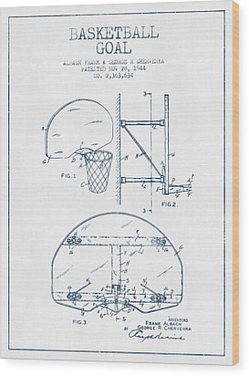 Basketball Goal Patent From 1944 - Blue Ink Wood Print by Aged Pixel