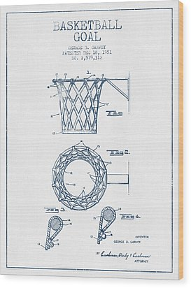 Basketball Goal Patent From 1951 - Blue Ink Wood Print by Aged Pixel