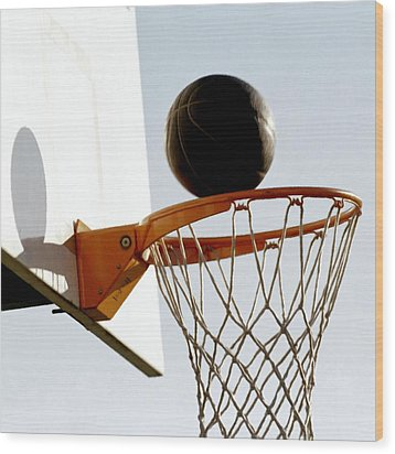 Basketball Hoop And Ball Wood Print by Lanjee Chee