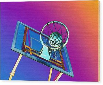 Basketball Hoop And Basketball Ball Wood Print by Lanjee Chee