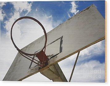 Basketball Hoop Wood Print by Bernard Jaubert