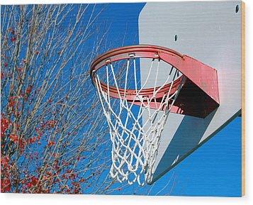 Basketball Net Wood Print by Valentino Visentini