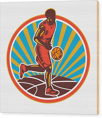 Basketball Player Dribbling Ball Woodcut Retro Wood Print by Aloysius Patrimonio