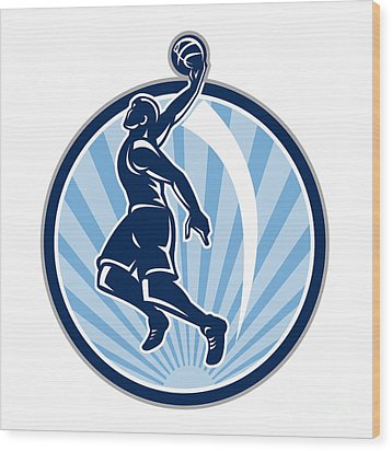 Basketball Player Dunk Ball Retro Wood Print by Aloysius Patrimonio