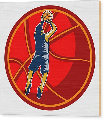 Basketball Player Jump Shot Ball Woodcut Retro Wood Print by Aloysius Patrimonio