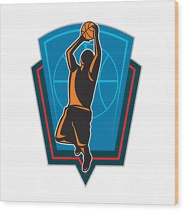 Basketball Player Rebounding Ball Shield Retro Wood Print by Aloysius Patrimonio