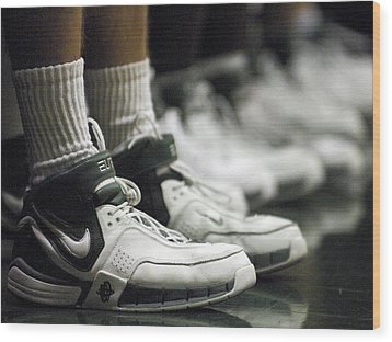 Basketball Shoes In A Row Wood Print by Replay Photos