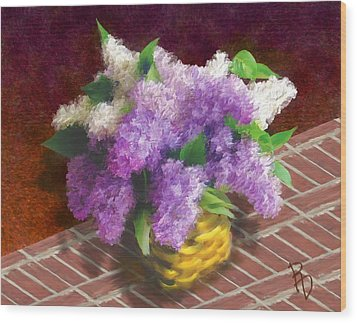 Basketful Of Lilacs Wood Print