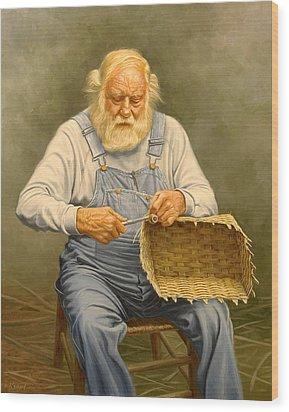 Basketmaker  In Oil Wood Print by Paul Krapf