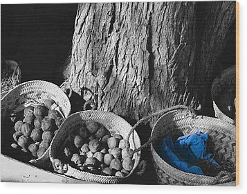 Wood Print featuring the photograph Baskets by Cassandra Buckley