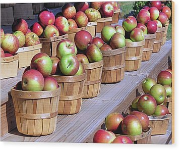 Baskets Of Apples Wood Print by Janice Drew