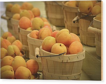Baskets Of Apricots Wood Print by Julie Palencia