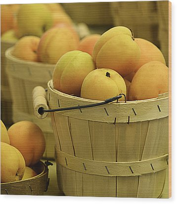 Baskets Of Apricots Squared Wood Print by Julie Palencia