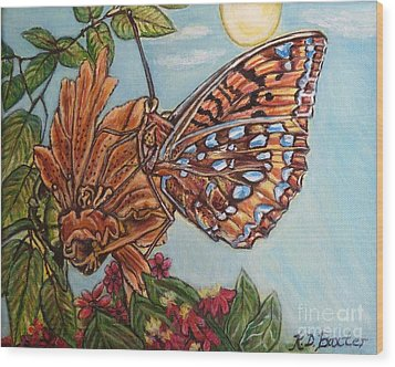Basking In The Warmth Of The Sun In A Tropical Paradise Painting Wood Print by Kimberlee Baxter