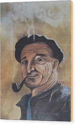 Wood Print featuring the painting Basque Man With Pipe by Cathy Long