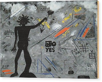 Basquiat Rest In Peace - Tribute Number 7 Wood Print by Scott Haley