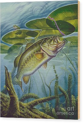 Bass And Frog Wood Print by Jon Q Wright