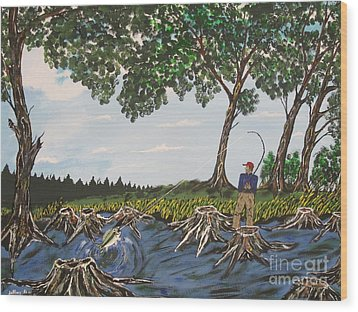 Bass Fishing In The Stumps Wood Print