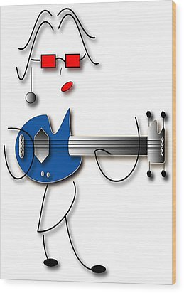 Wood Print featuring the digital art Bass Guitar Girl by Marvin Blaine