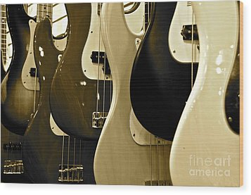 Bass Guitars  Wood Print