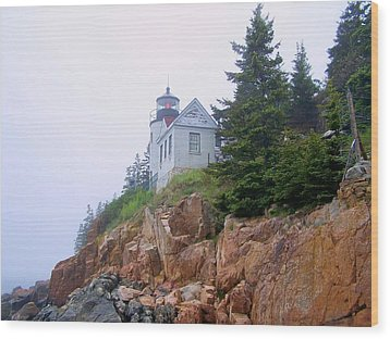 Bass Harbor Head Light Wood Print by Gene Cyr