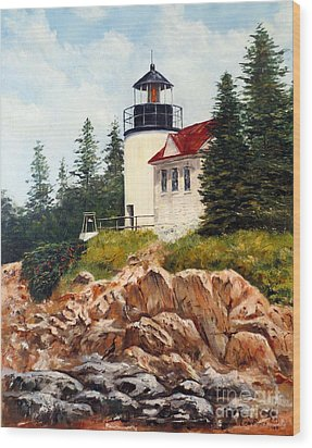 Wood Print featuring the painting Bass Harbor Head Light by Lee Piper