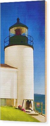 Bass Harbor Head Lighthouse Maine Wood Print by Carol Leigh