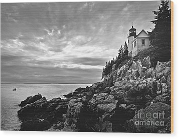 Bass Harbor Lighthouse At Dusk Wood Print by Diane Diederich
