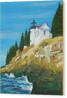 Bass Harbor Lighthouse Wood Print by Mike Robles