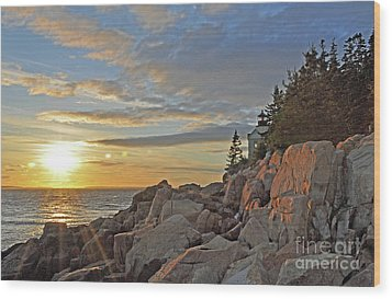 Wood Print featuring the photograph Bass Harbor Lighthouse Sunset Landscape by Glenn Gordon