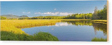Bass Harbor Marsh Panorama Acadia National Park Photograph Wood Print