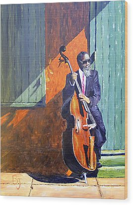 Bass Player In New Orleans Wood Print by Barbara Jacquin