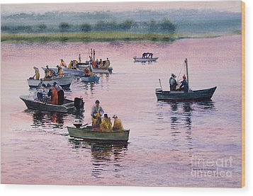 Wood Print featuring the painting Bass River Scallopers by Karol Wyckoff