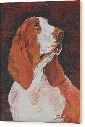 Basset Called Mary Wood Print by Janina  Suuronen