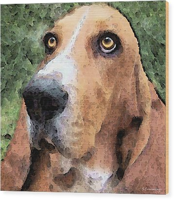 Basset Hound - Irresistible  Wood Print by Sharon Cummings