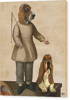 Basset Hounds Two Basset Hounds Wood Print by Kelly McLaughlan