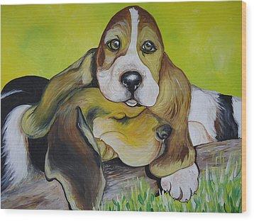 Bassett Hound Pups Wood Print