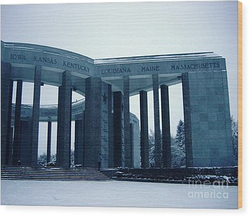 Wood Print featuring the photograph Bastogne Liberation Memorial by Deborah Smolinske