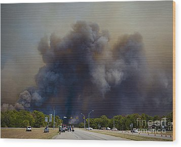 Bastrop Burning Car Explosion Wood Print
