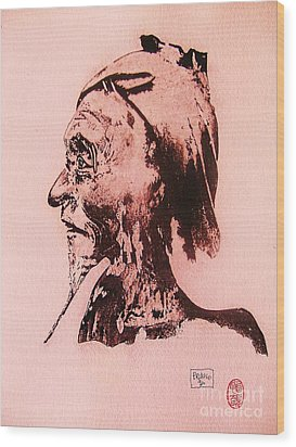 Wood Print featuring the drawing Basu Sennin by Roberto Prusso