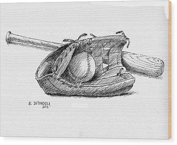 Bat Ball And Glove Wood Print by Al Intindola