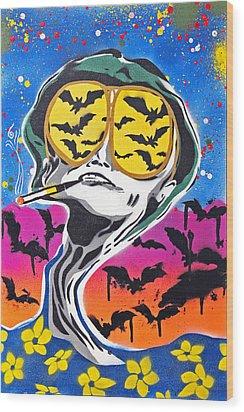 Bat Country Wood Print by Victor Cavalera