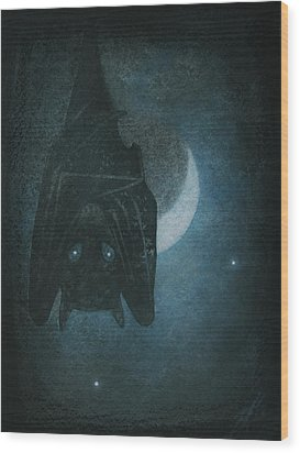 Bat With Crescent Moon Wood Print