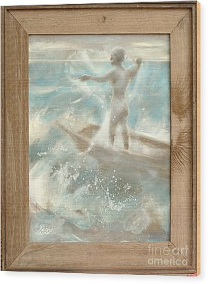 Wood Print featuring the painting Bateau by Gertrude Palmer