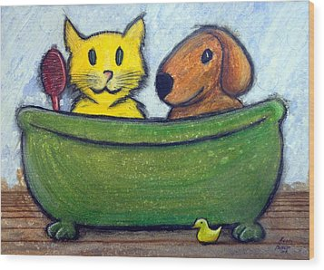 Bath Friends Wood Print