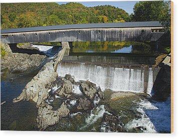 Bath Haverhill Covered Bridge In Autumn Wood Print