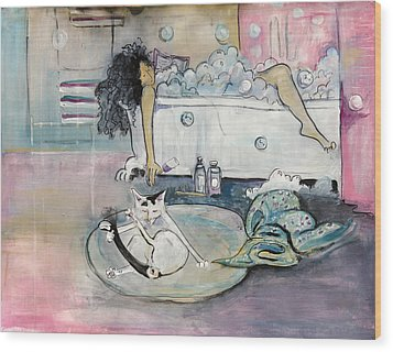 Bath Time Wood Print by Leela Payne