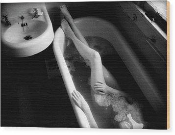 Bather At Window Wood Print by Lindsay Garrett